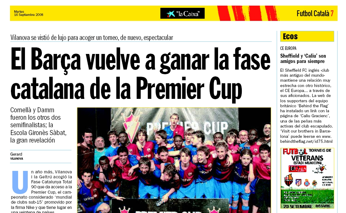 BTF in the Futbol Catalá supplement of El Diarí.